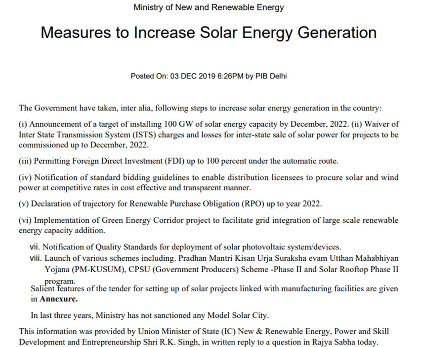 Measures to Increase Solar Energy Generation