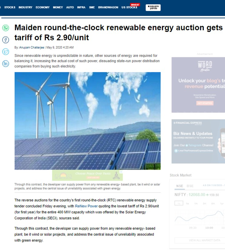 Maiden round-the-clock renewable energy auction gets tariff of Rs 2.90/unit