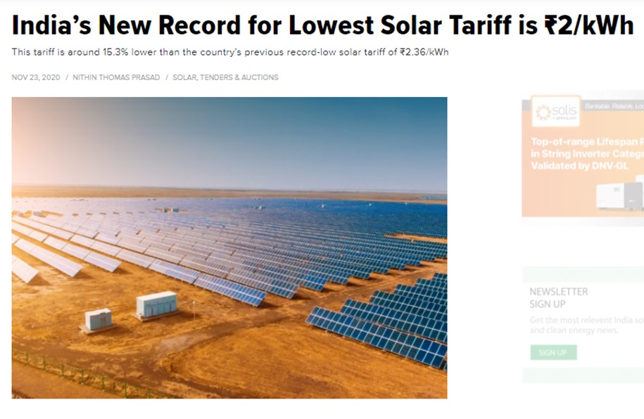 India's New Record for Lowest Solar Tariff is ₹2/kWh
