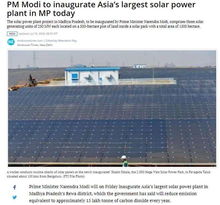 PM Modi to inaugurate Asia's largest solar power plant in MP today