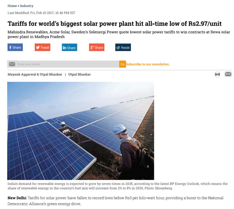 Tariffs for world's biggest solar power plant hit all-time low of Rs2.97/unit